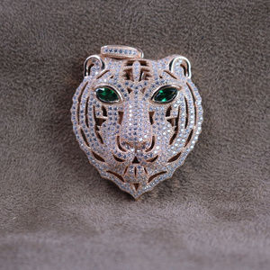 Jewelry - Rose Gold Simulated Emerald Eye Panther Pendant